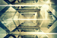 Abstract 3d interior background with light beams Stock Photo