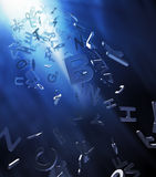 Abstract 3d letters. Background with light rays from above Stock Photo