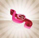 Abstract 3D music tone. Abstract 3D music background with violin key vector illustration