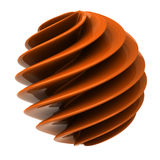 Abstract 3d object. Orange twisted sphere Vector Illustration