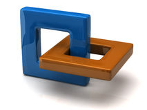 Abstract 3D object. Made of two frames Royalty Free Stock Photo