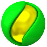 Abstract 3d object - layered sphere. Abstract 3d object - layered green and gold sphere Royalty Free Illustration