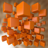 Abstract 3D Orange Blocks Background. Abstract 3D Computer Generated Orange Blocks Background stock illustration