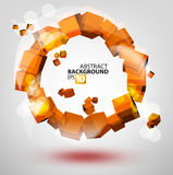 Abstract 3D orange circle. Vector colored abstraction on gray Royalty Free Stock Photo