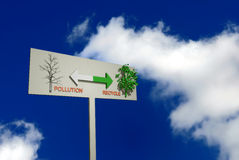 Abstract 3d pollution illustration. With direction sign against blue sky an white clouds Royalty Free Stock Photo