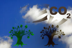 Abstract 3d pollution illustration. Against blue sky with white clouds Stock Image