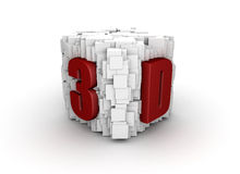 Abstract 3d presentation. 3D printed on many abstract cubes vector illustration