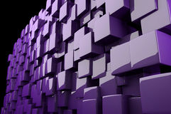 Abstract 3d purple cubes. Abstract three dimensional reflective purple cubes on black background Stock Photos
