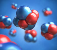 Abstract 3d render of atoms. Molecule with shallow depth of field Royalty Free Stock Photography