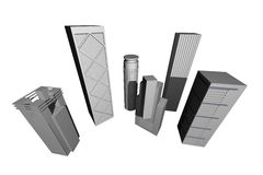 Abstract 3D render of modern skyscrapers vector illustration