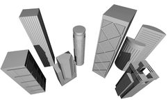 Abstract 3D render of modern skyscrapers stock illustration