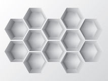 Abstract 3d shelf. Abstract 3d decoration shelf on white wall Royalty Free Stock Images