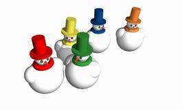 Abstract 3D Snowmen Stock Photo