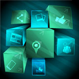 Abstract 3d social networking background Stock Photo