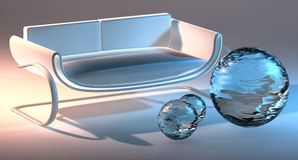 Abstract 3D sofa and bubbles Royalty Free Stock Photos
