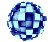 Abstract 3d Sphere. An abstract 3d sphere with cubes growing out of it Royalty Free Stock Photography