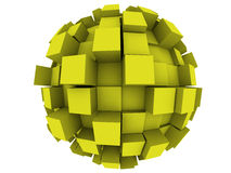 Abstract 3d Sphere. An abstract 3d sphere with cubes growing out of it Royalty Free Stock Images