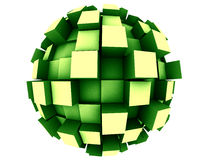 Abstract 3d Sphere. An abstract 3d sphere with cubes growing out of it Stock Photo