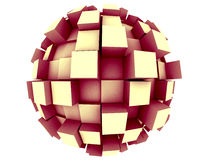 Abstract 3d Sphere. An abstract 3d sphere with cubes growing out of it Royalty Free Stock Photo