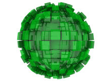 Abstract 3d Sphere. An abstract 3d sphere with cubes growing out of it Royalty Free Stock Image