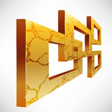 Abstract 3D Square Frames. Abstract 3D gold square frames with cracked texture (EPS10 - Transparency, Gradient vector illustration