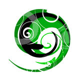 Abstract. Artistic design sign with spirals stock illustration
