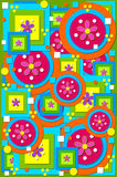 Abstract 70's Background. Geometric shapes of circles, squares fill background image.  Cool colors of green, blue, pink and orange are layered on a purple Stock Images