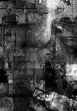 Abstract. Black and White Abstract with human, Art and city elements Stock Image