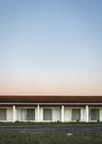 Abstract abandoned motel. Abstract photo of an abandoned motel taken at sunset Royalty Free Stock Images