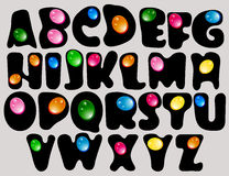 Abstract ABC,black alphabet with color drops. Beautiful illustration Royalty Free Stock Photo