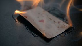 Abstract ace of hearts burns on black background hd slow motion footage for you ideas. Close up stock footage