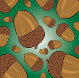 Abstract acorn pattern. Illustration of acorn pattern on green background Stock Photos