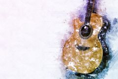 Abstract acoustic guitar watercolor painting background. Abstract beautiful Guitar acoustic in the foreground on Watercolor painting background and Digital royalty free illustration