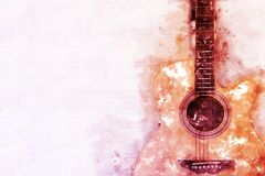 Abstract acoustic guitar watercolor painting background. Abstract beautiful Guitar in the foreground on Watercolor painting background and Digital illustration royalty free illustration