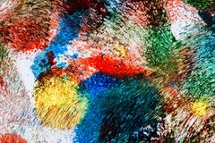 Abstract acrylic art background. Macro shot of abstract acrylic art background. Multicolor light and bright texture. Fragment of artwork. Spots of acrylic paint stock illustration