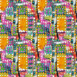 Abstract acrylic artistic colored polka dot seamless pattern in the form of squares. Royalty Free Stock Images