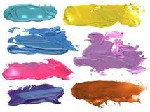 Abstract acrylic brush strokes blots. Collection of abstract acrylic brush strokes blots Stock Photography