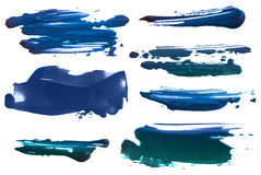 Abstract acrylic brush strokes blots. Collection of abstract acrylic brush strokes blots royalty free illustration
