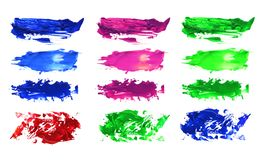 Abstract acrylic brush strokes. Collection. Isolated on white royalty free stock image
