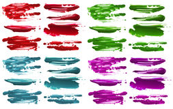 Abstract acrylic color brush strokes blots. Isolated. Abstract acrylic color brush strokes blots. Collection. Isolated stock illustration