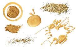 Abstract acrylic color and glitter gold elements. Isolated. Coll royalty free stock images
