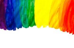 Abstract acrylic hand painted rainbow Stock Photo