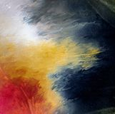 Abstract acrylic modern contemporary art oil solar flare painting. Abstract acrylic modern contemporary art oil painting of power powerful solar sun flare outer royalty free stock photography