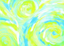 Abstract acrylic paint background with spirals. Wavy RGB bright hand drawn illustration. Color drawing for backdrop, poster, card Royalty Free Illustration
