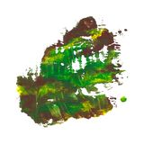 Abstract acrylic paint monotyped spot. Green, yellow, brown. Bright colors. Vector illustration isolated on white background Stock Photos