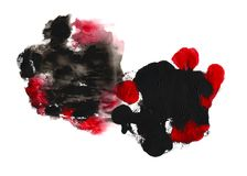 Abstract acrylic paint monotyped spot. Red black bright colors. Stock Photos