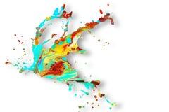 Abstract acrylic paint splash background. Abstract acrylic paint splash elements isolated on white background royalty free stock photos