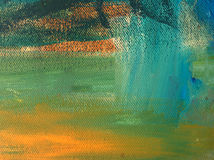Abstract acrylic painted background. In cyan, gold and greens royalty free stock photo