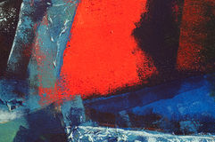 Abstract acrylic painting. Of collage and acrylic paint with blues and red Stock Photo