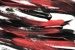 Abstract acrylic painting. Black and red acrylic painting on white as a background royalty free illustration